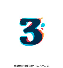 Number three logo with watercolor splashes. Color overlay style. Vector typeface for labels, headlines, posters, cards etc.