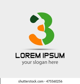 Number three logo.Logo 3 vector template
