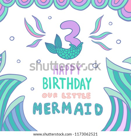 Number Three With Mermaid Tail Vector Illustration Template For Style Birthday Party Invitation