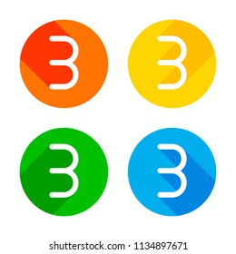 Number three, numeral, simple letter. Flat white icon on colored circles background. Four different long shadows in each corners