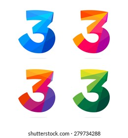 Number three in trendy polygonal crystal style, vector design template elements