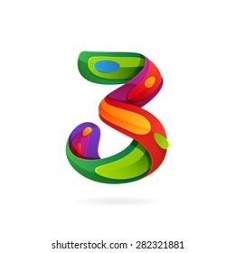 Number three volume logo, vector design template elements
