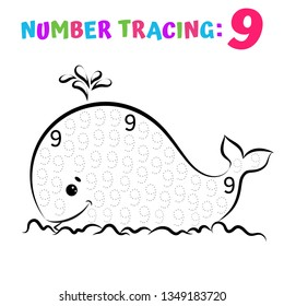 Number Tracing Worksheet. Coloring Book Page. Math Game. Writing Skills Educational Exercise. Vector illustration.