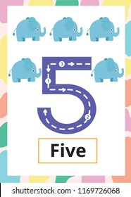 Number Tracing Worksheet five, 5, Kid number five with elephant.