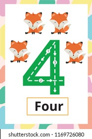 Number Tracing Worksheet four, 4, Kid number four with fox.