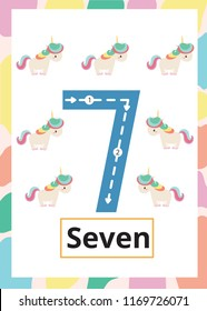 Number Tracing Worksheet seven, 7,  Kid number seven with unicor