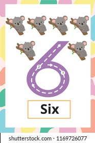Number Tracing Worksheet six, 6, Kid number six with koala.