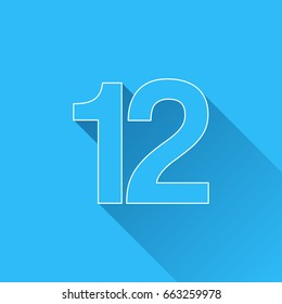 Number Twelve, 12 with long shadow and white outline on blue background. Blue symbol in a flat design style. Vector illustration, easy to edit.