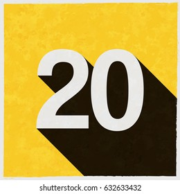 Number Twenty, 20 on retro poster with long shadow. Vintage sign with grunge effects. Vector illustration, easy to edit, manipulate, resize or colorize.