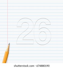 Number Twenty-six, 26 hand drawn with pencil on a paper sheet. Vector illustration, easy to edit.