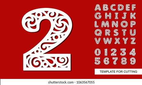 Number two - 2. Full English alphabet and digits 0, 1, 2, 3, 4, 5, 6, 7, 8, 9. Lace letters and numbers. Template for laser cutting, wood carving, paper cut and printing. Vector illustration.