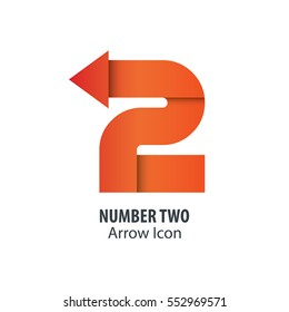 Number Two and Arrow Icon Logo