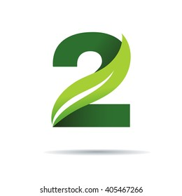 Number two with green leaves, Vector logo design template elements