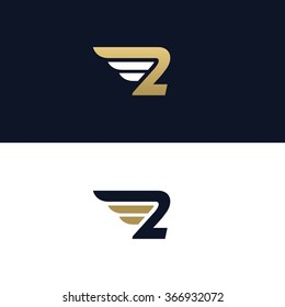 Number two logo template. Wings design element vector illustration. Corporate branding identity