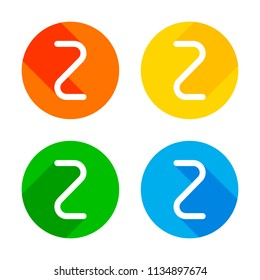 Number two, numeral, simple letter. Flat white icon on colored circles background. Four different long shadows in each corners