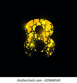 number vector isolated set eight shiny sign