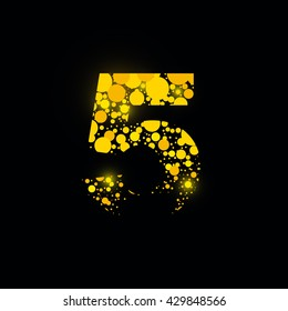 number vector isolated set five shiny sign