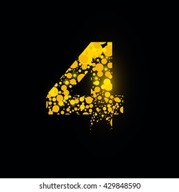 number vector isolated set four shiny sign