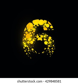 number vector isolated set six shiny sign