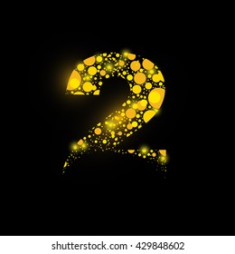 number vector isolated set two shiny sign