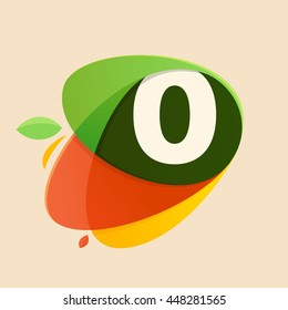 Number zero logo in healthy food shapes. Colorful vector design for banner, presentation, web page, app icon, card, labels or posters.