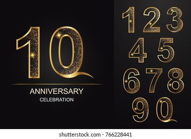 number,10 aniversary,celebration,golden number