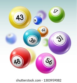 Numbered balls of lottery gambling games 3d vector illustration. Lotto, bingo or keno balls falling down, gaming sport and entertainment design