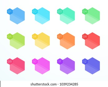 Numbered Flat Hexagon Text Boxes 1 to 12 Vector