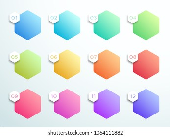 Numbered Gradient Hexagon Text Box 1 to 12 Vector