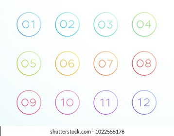 Numbered Outlined Bullet Points 1 to 12 Vector