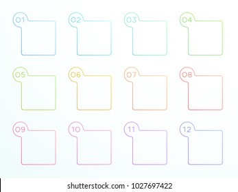 Numbered Outlined Square Text Boxes 1 to 12 Vector