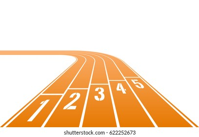 Numbered running track rotating on left