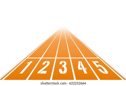 Numbered running track. Starting position