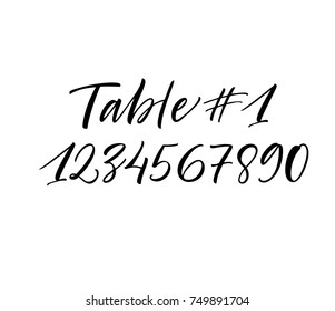 Numbering tables for the wedding. Ink illustration. Modern brush calligraphy. Isolated on white background.
