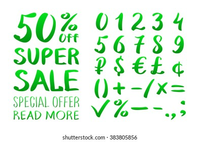 Numbers 0-9 written with a brush on a white background lettering. Super Sale. Big sale. Sale tag. Sale poster. Sale vector. Super Sale and special offer. 50% off. Vector illustration. art