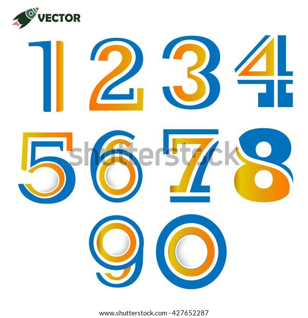 Image Vectorielle De Stock De Chiffres 1 2 3 4 5 6 7 8 9 0 Lettres Numerote Les Icones 427652287