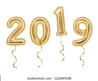 Numbers 2019 made of golden balloons isolated on white background. 2019 New year concept.
