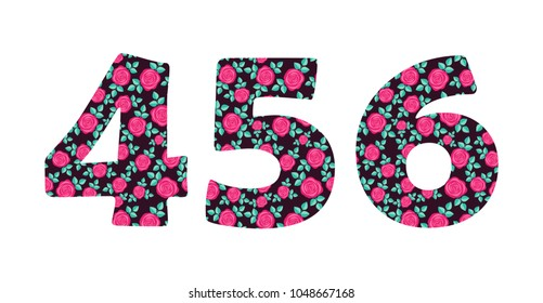 Numbers 4 5 6 of beautiful cute spring hand drawn roses isolated on white background. Element of floral digit. Perfect for anniversary, wedding decoration etc. Vector illustration, numeral element