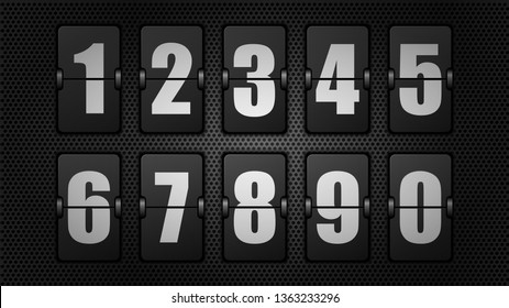 Numbers from Black Mechanical Scoreboard. White digit on black board. Vector illustration.