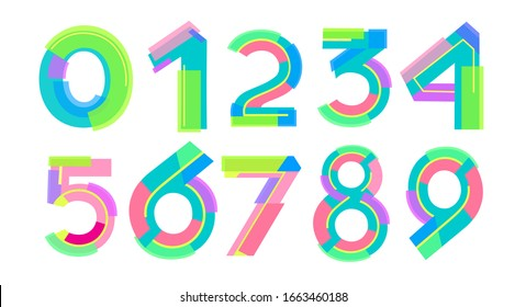Numbers bright lines sports dynamics SET.Stylish cheerful figures for the design of posters, booklets, brochures, banners. Infographics advertisement.