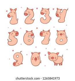 Numbers With Cartoon Pig Character Vector Set. Beautiful element for Kids Birthday Party invitation, greeting card and cake toppers design.