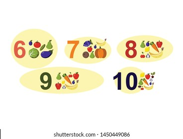 numbers for children with examples, from 6 to 10. Kids learning material. Card for learning numbers. Number 6-10. fruits and vegetables