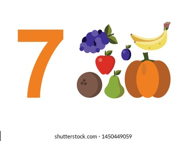numbers for children with examples. Kids learning material. Card for learning numbers. Number 7. fruits and vegetables