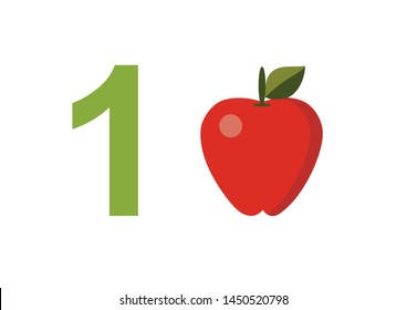 numbers for children with examples. Kids learning material. Card for learning numbers. Number 1. fruits and vegetables