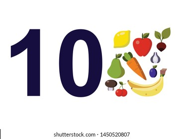 numbers for children with examples. Kids learning material. Card for learning numbers. Number 10. fruits and vegetables