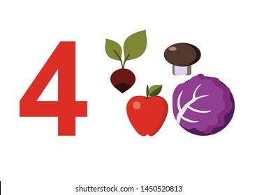 numbers for children with examples. Kids learning material. Card for learning numbers. Number 4. fruits and vegetables