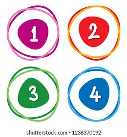 numbers in circles hand drawn vector