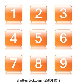 Numbers Counting Square Vector Orange Icon Design Set