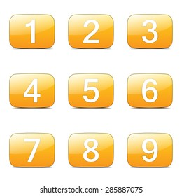 Numbers Counting Square Vector Yellow Icon Design Set