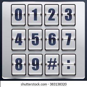 Numbers In Flip Scoreboard Theme : Vector Illustration